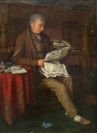 CHARLES SPENCELAYH PAINTING ''READING THE STANDARD''