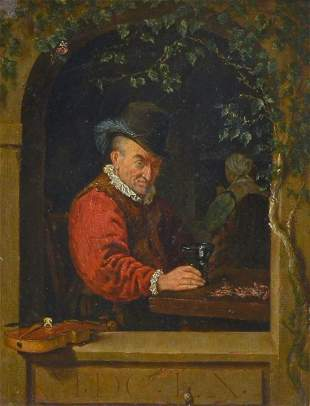 """PAINTING AFTER FRANZ VAN MIERIS """"THE OLD VIOLINIST"""""""