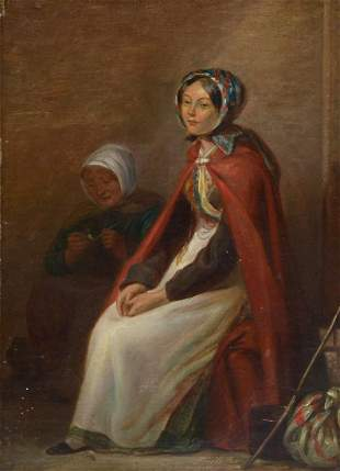 19TH CENTURY PAINTING OF TWO WOMEN SEATED