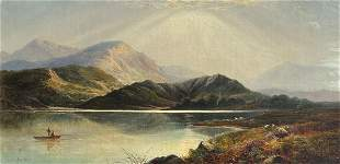 J. LESLIE FISHING ON A HIGHLAND LOCH PAINTING