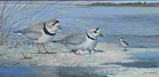 JIM FOOTE PIPING PLOVER FAMILY PAINTING