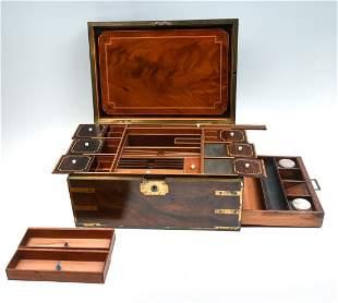 ELABORATE BRASS INLAID DOCUMENT BOX