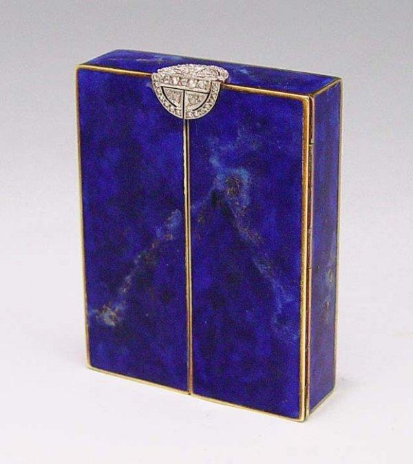 1: 14K ART DECO LAPIS & DIAMOND ENAMEL COMPACT / BOX