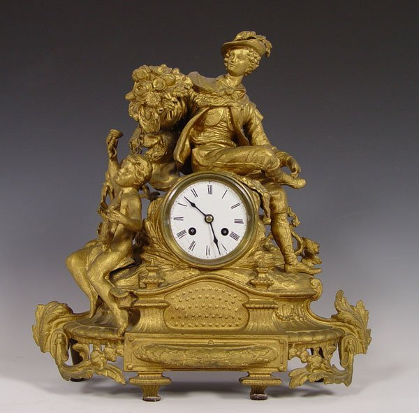 7: JAPY FRERES FIGURAL FRENCH DORE CLOCK