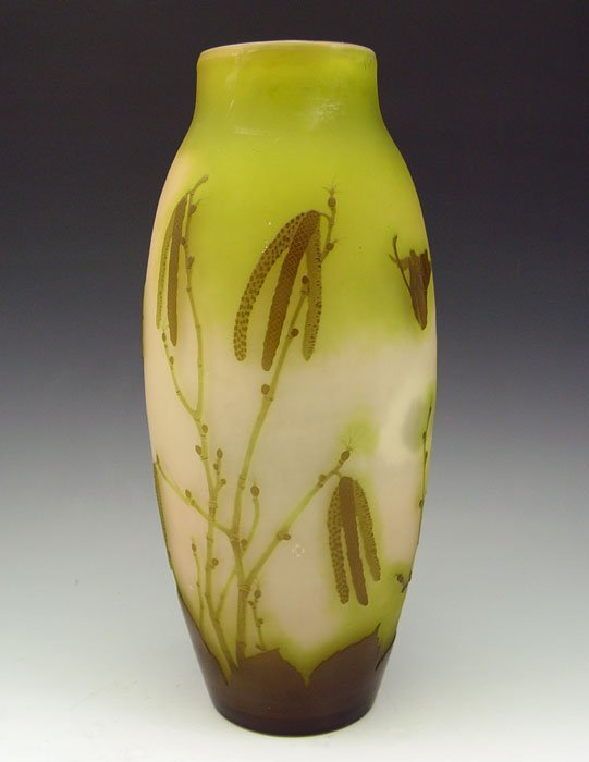 13: GALLE CAMEO GLASS VASE 12 1/2'' TALL