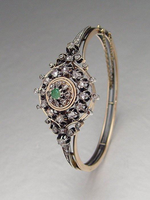 16: EDWARDIAN ROSE CUT DIAMOND BANGLE BRACELET