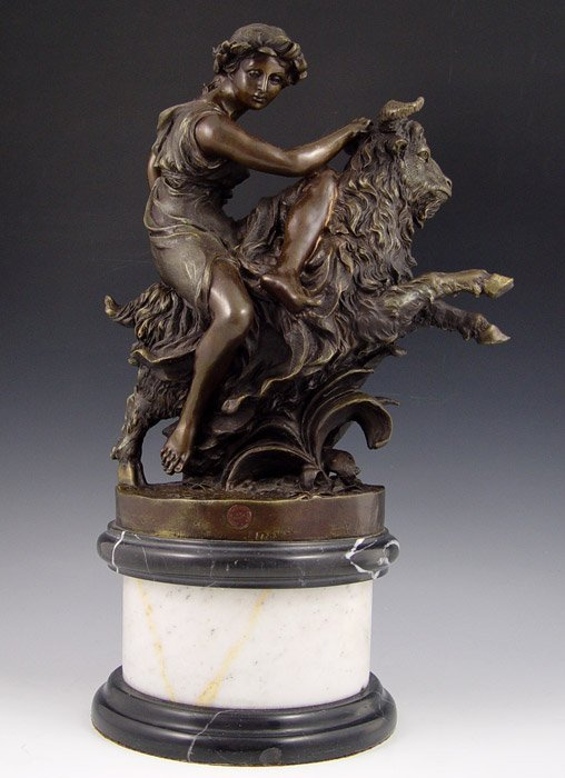 19: WOMAN WITH GOAT BRONZE AFTER CLODION