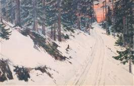 126: HUGO VON HOFSTEN WINTER TRAIL PAINTING