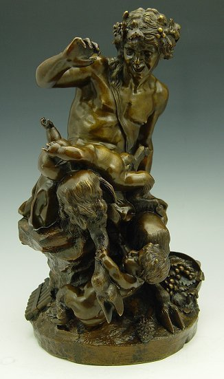 18A: EARLY BRONZE SATYR WITH CHILDREN SCULPTURE