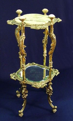 1008: ORNATE MARBLE TOP BRASS STAND