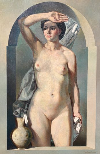 1022: IMPORTANT SPANISH  EXHIBITED NUDE PAINTING