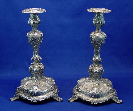 1115: ORNATE PAIR OF GERMAN FINE 800 SILVER CANDLESTICK