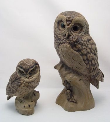 1018: TWO LARGE POOLE POTTERY OWLS BY LINLEY-ADAMS