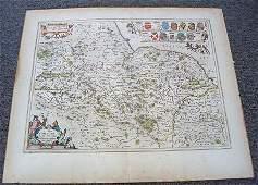 1044 NORTH YORKESHIRE REGION MAP CIRCA 1645 BY BLAEU