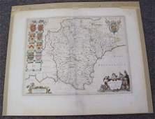 1040 DEVONSHIRE COUNTY MAP CIRCA 1645 BY BLAEU