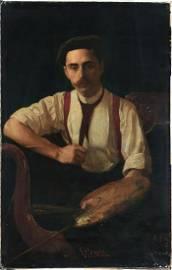 LARGE FINE PORTRAIT BY THOMAS ANSHUTZ