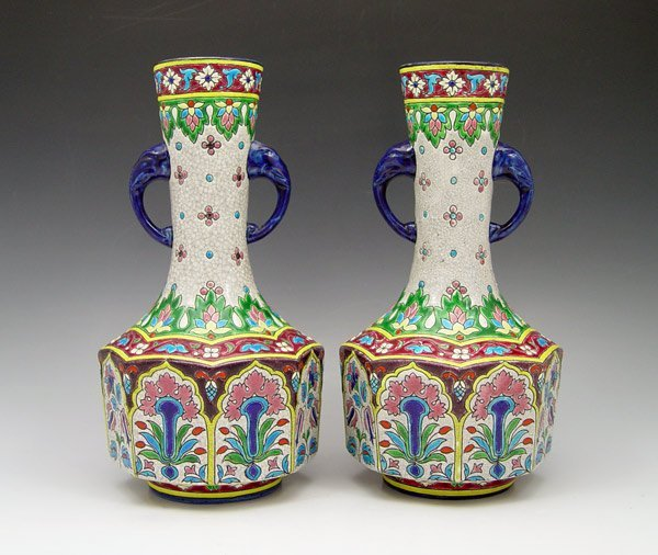 228: PAIR LONGWY FRENCH FAIENCE VASES