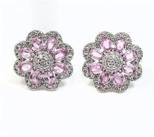 14K PINK SAPPHIRE & DIAMOND EARRINGS