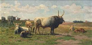ITALIAN PAINTING LANDSCAPE WITH CATTLE BY A. DE SI