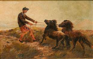 PAINTING OF A SCOTTISH MAN AND TWO SHETLAND PONIES