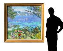 LARGE PIERRE BITTAR FRENCH HARBOR PAINTING