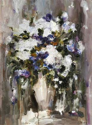 LITHUANIAN STILL LIFE FLOWERS IN A VASE PAINTING B