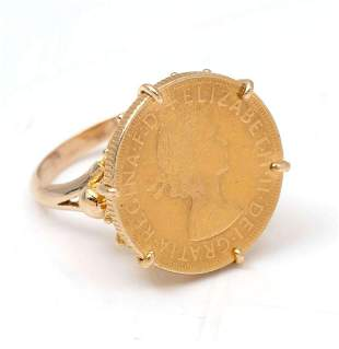 14K BRITISH SOVEREIGN COIN RING