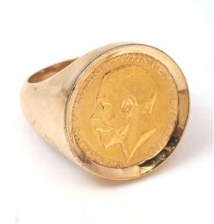 18K KING GEORGE V BRITISH HALF 22K GOLD COIN RING