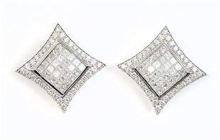 14K 4.00 CTW DIAMOND CONCAVE SQUARE EARRINGS