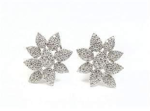 14K STYLIZED DIAMOND FLOWER EARRINGS