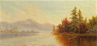 AMERICAN SCHOOL PAINTING BLUE MOUNTAIN RACQUETTE LAKE