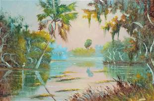 JOHNNY DANIELS FLORIDA HIGHWAYMEN LAGOON PAINTING
