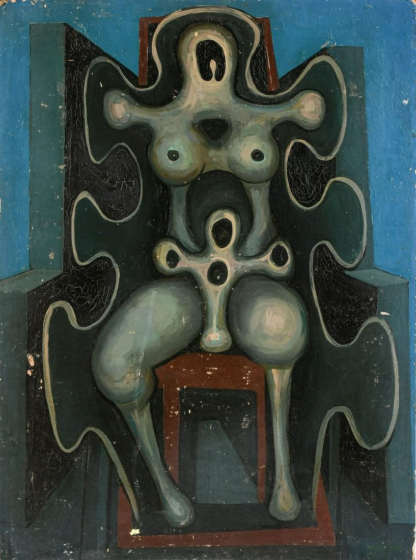 GEORGE JAY ROGERS ABSTRACT SEATED FIGURE