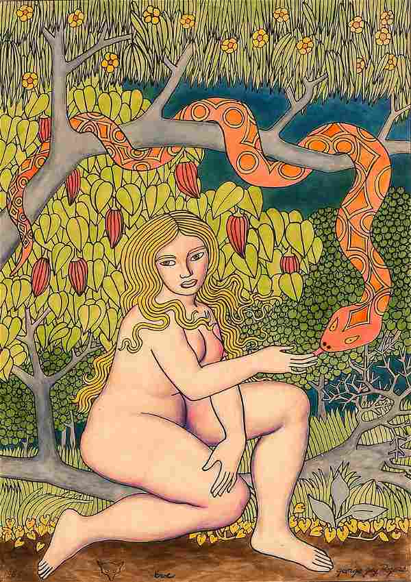 GEORGE JAY ROGERS ILLUSTRATION OF EVE IN THE GARDE