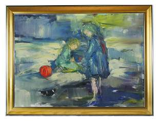 CHILDREN WITH A BALL IN A LANDSCAPE PAITNING SIGNE