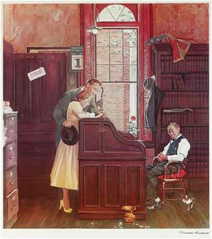 NORMAN ROCKWELL LITHOGRAPH ''GETTING MARRIED''