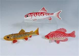 THREE JOHN PETERS PAINTED FISH DECOYS