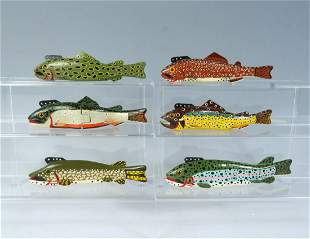 SIX JIM NELSON HAND-CARVED AND PAINTED FISH DECOYS