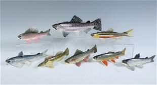 EIGHT PIECE CARL CHRISTIANSEN FISH DECOY LOT