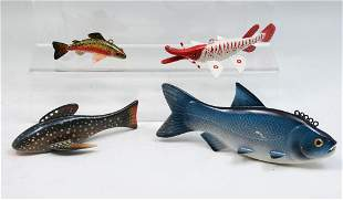 FOUR PAUL MCNEAL HAND CARVED AND PAINTED FISH DECO