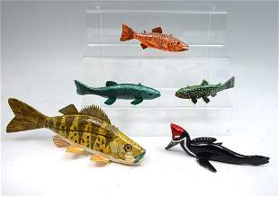 FIVE FLOYD OSGA HAND CARVED AND PAINTED FISH DECOY