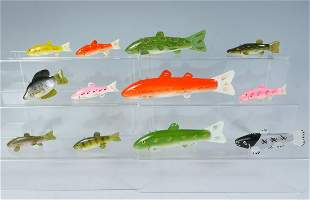 ELEVEN PIECE FISH DECOY LOT TO INCLUDE LAURENCE BE