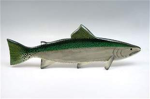 HAND CARVED AND PAINTED STEELHEAD BY MARGARET 1992