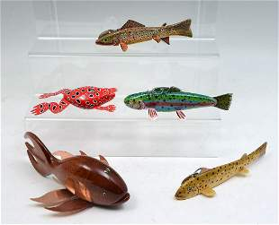 FIVE HAND-CARVED AND PAINTED FISH DECOYS