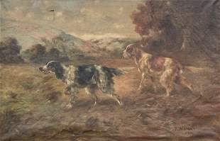 TD BEAUMONT HUNTING DOGS PAINTING