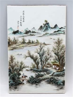 CHINESE REPUBLIC PERIOD FAMILLE ROSE SCENIC PLAQUE