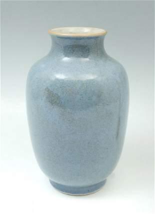 CHINESE BLUE MONOCHROME PORCELAIN VASE