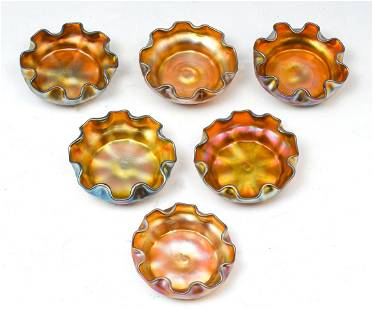 6 PC. LOUIS COMFORT TIFFANY NUT DISHES