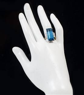 PLATINUM & 14K LONDON BLUE TOPAZ & DIAMOND RING
