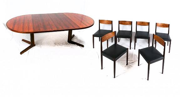 FREM ROJLE DANISH DINING TABLE AND 6 CHAIRS